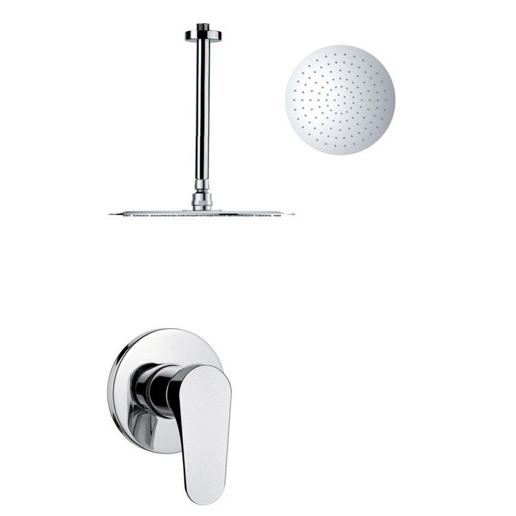 REMER SS1266 MARIO ROUND AND MODERN POLISHED CHROME SHOWER FAUCET SET