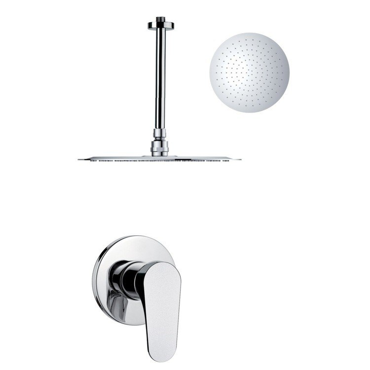 REMER SS1267 MARIO ROUND AND MODERN POLISHED CHROME SHOWER FAUCET SET