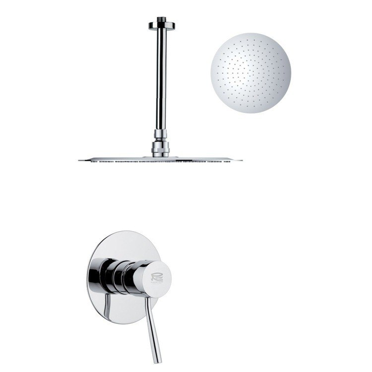 REMER SS1268 MARIO ROUND AND MODERN POLISHED CHROME SHOWER FAUCET SET