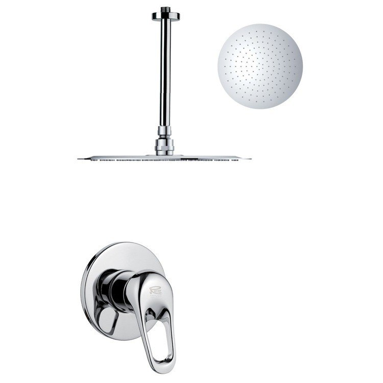 REMER SS1269 MARIO ROUND AND MODERN POLISHED CHROME SHOWER FAUCET SET