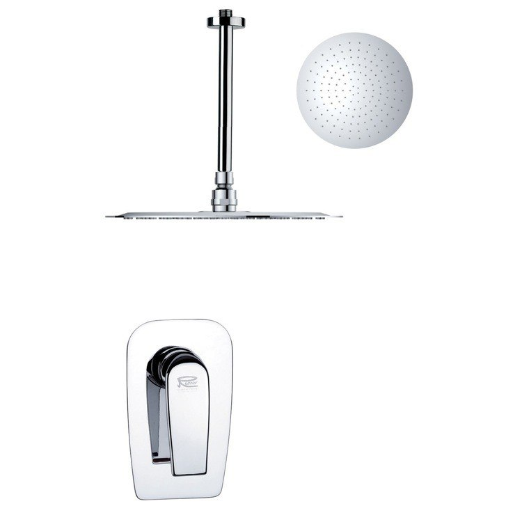 REMER SS1270 MARIO ROUND AND MODERN POLISHED CHROME SHOWER FAUCET SET
