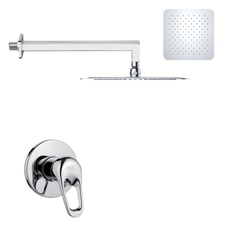 REMER SS1276 MARIO ROUND AND MODERN POLISHED CHROME SHOWER FAUCET SET