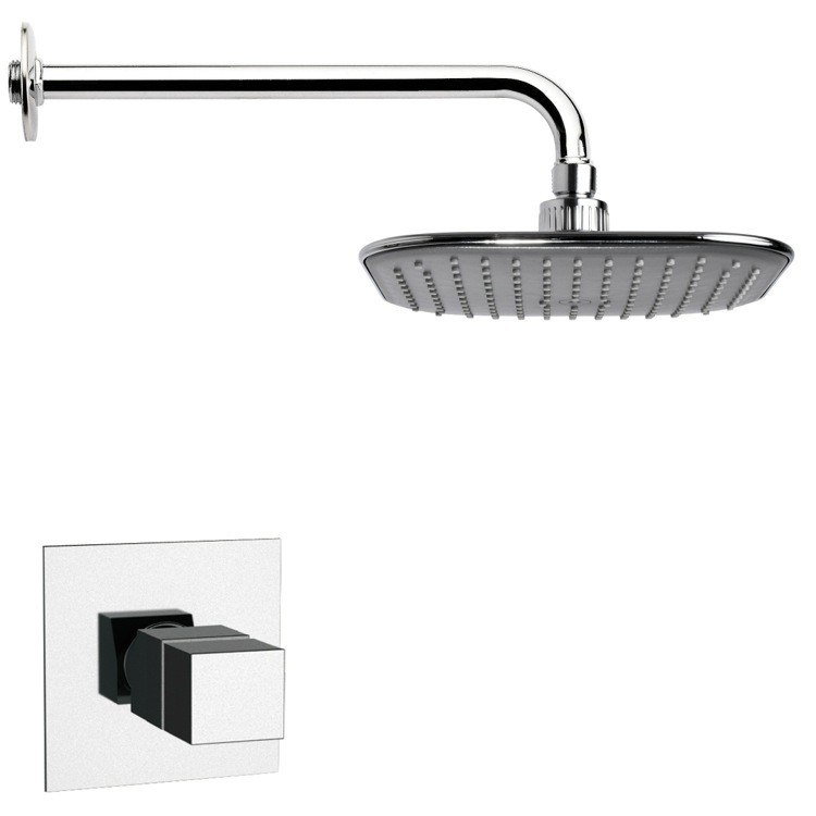REMER SS1404 MARIO THERMOSTATIC POLISHED CHROME SQUARE SHOWER FAUCET SET