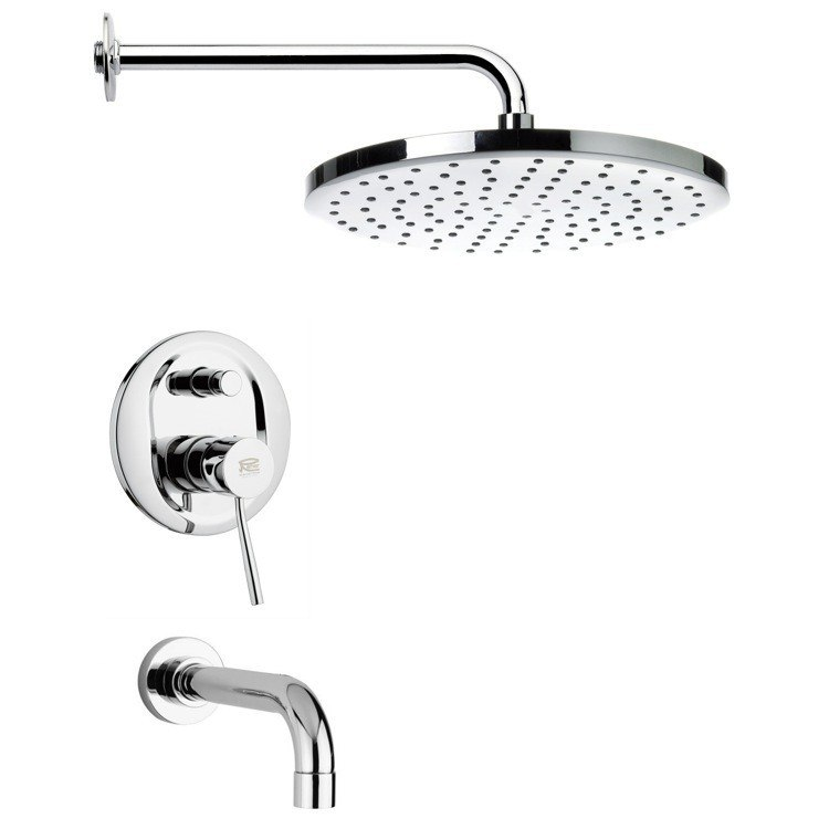 REMER TSF2000 PELEO CONTEMPORARY TUB AND RAIN SHOWER SYSTEM IN CHROME