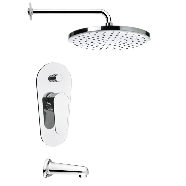 REMER TSF2002 PELEO CONTEMPORARY TUB AND RAIN SHOWER FAUCET IN CHROME