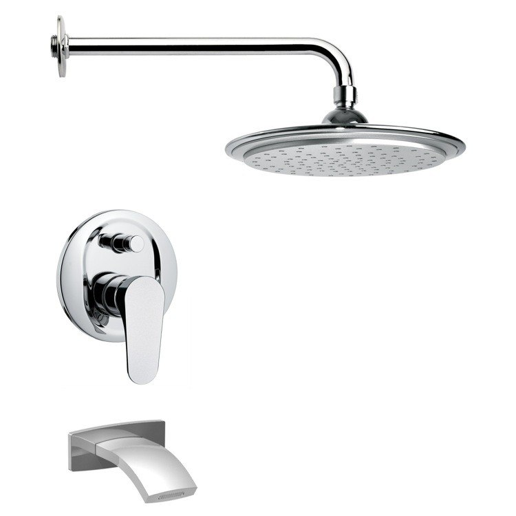 REMER TSF2007 PELEO CONTEMPORARY POLISHED CHROME TUB AND RAIN SHOWER FAUCET SET
