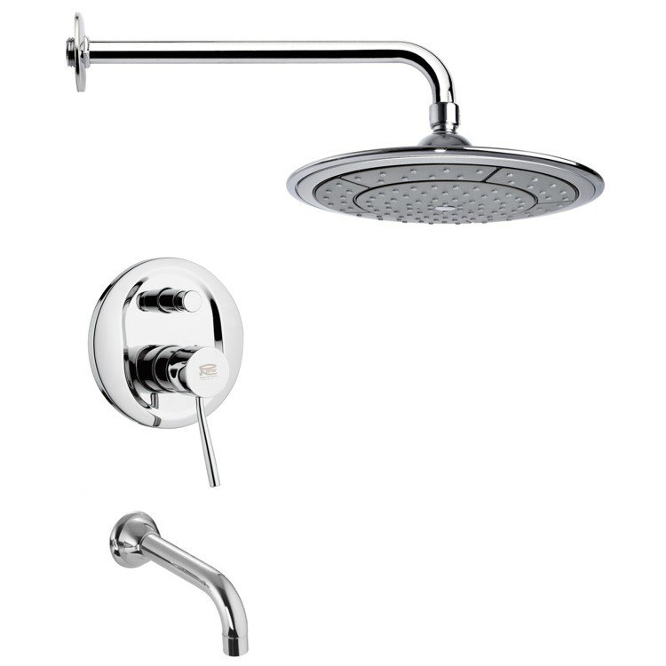 REMER TSF2010 PELEO CONTEMPORARY ROUND TUB AND RAIN SHOWER FAUCET SET IN CHROME