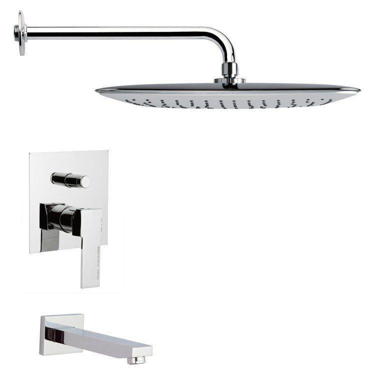 REMER TSF2012 PELEO SQUARE MODERN CHROME TUB AND SHOWER FAUCET SET
