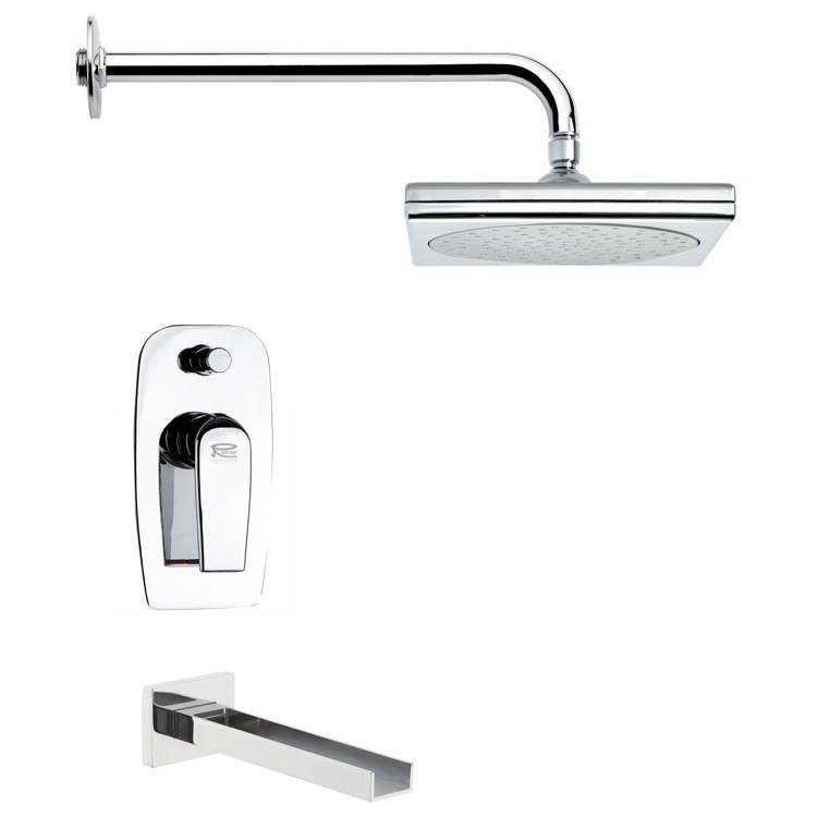 REMER TSF2018 PELEO SQUARE MODERN TUB AND SHOWER FAUCET SET IN CHROME