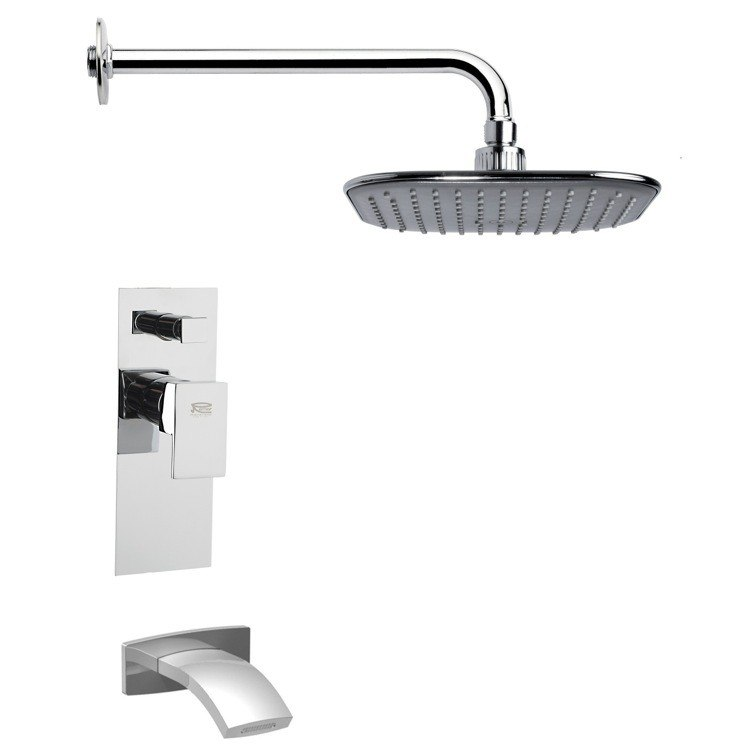 REMER TSF2021 PELEO CONTEMPORARY SQUARE TUB AND RAIN SHOWER FAUCET SET IN CHROME