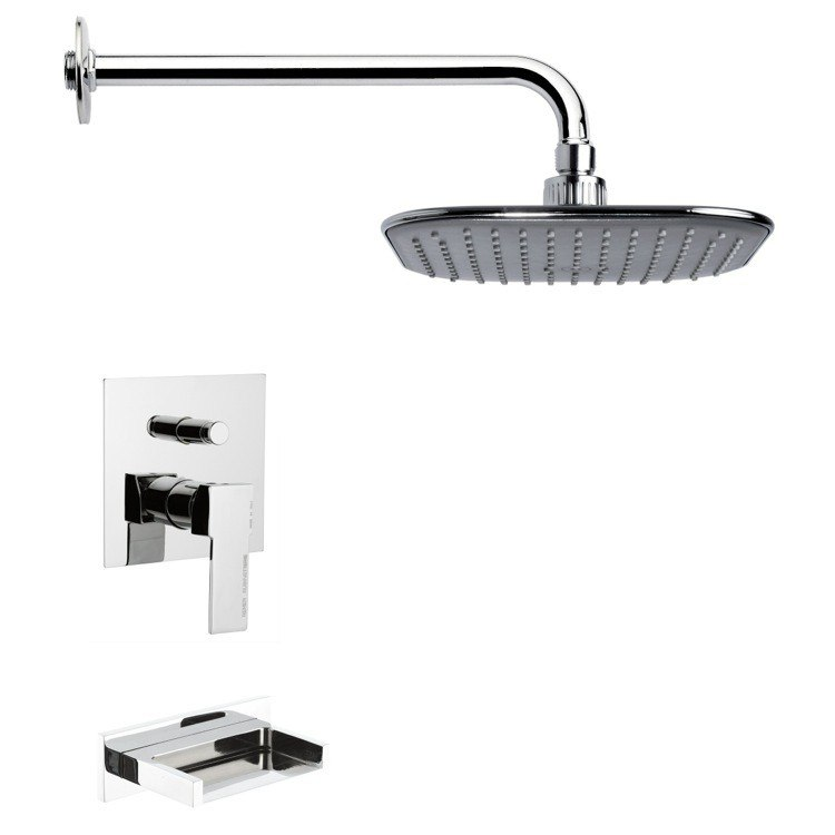 REMER TSF2022 PELEO CONTEMPORARY SQUARE TUB AND RAIN SHOWER FAUCET IN CHROME