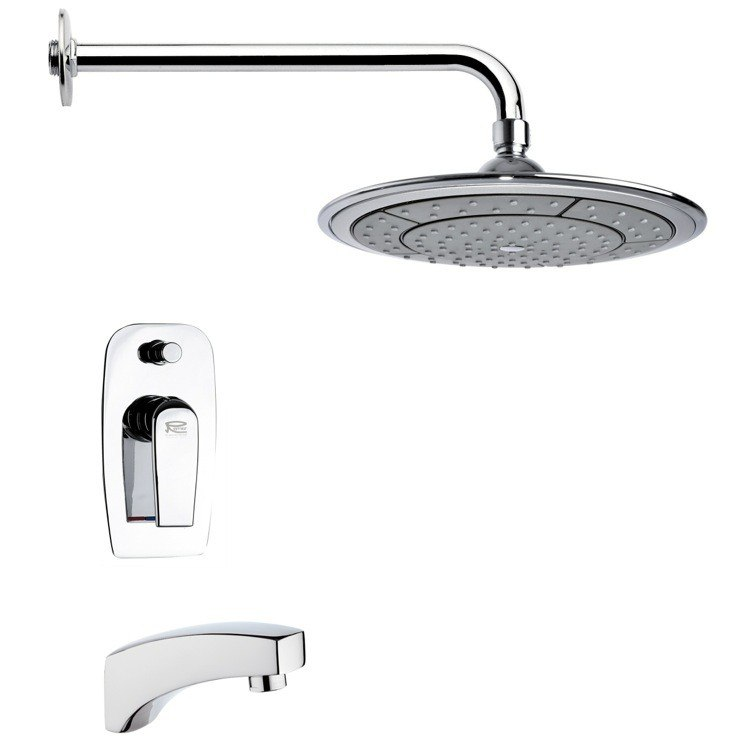 REMER TSF2025 PELEO CONTEMPORARY ROUND TUB AND RAIN SHOWER FAUCET IN CHROME