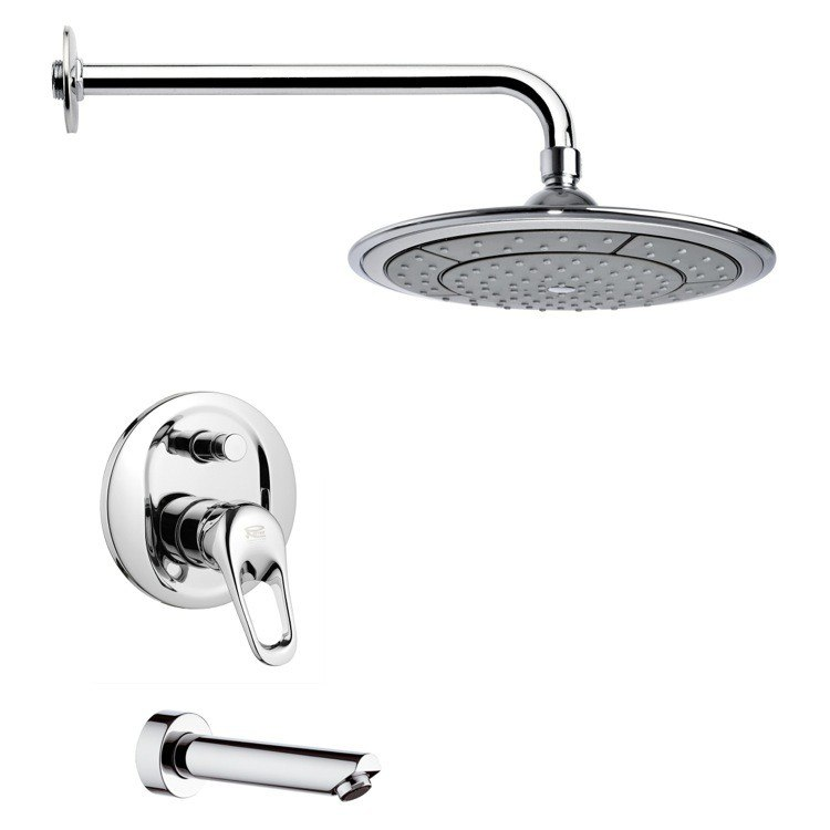 REMER TSF2027 PELEO CONTEMPORARY ROUND CHROME TUB AND RAIN SHOWER FAUCET SET
