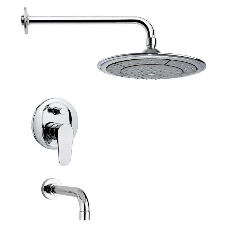 REMER TSF2028 PELEO CONTEMPORARY ROUND CHROME TUB AND RAIN SHOWER FAUCET