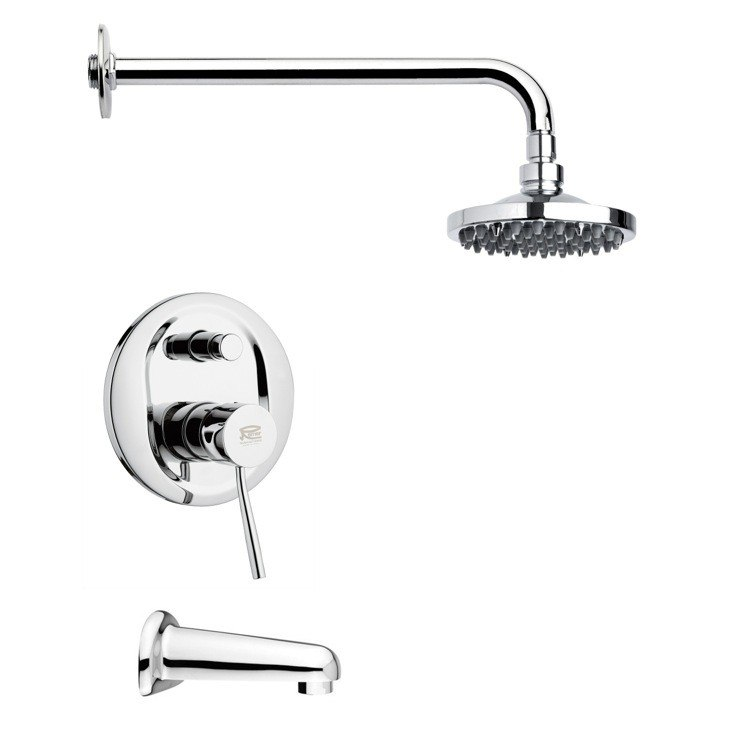 REMER TSF2036 PELEO CONTEMPORARY POLISHED CHROME ROUND TUB AND RAIN SHOWER FAUCET SET