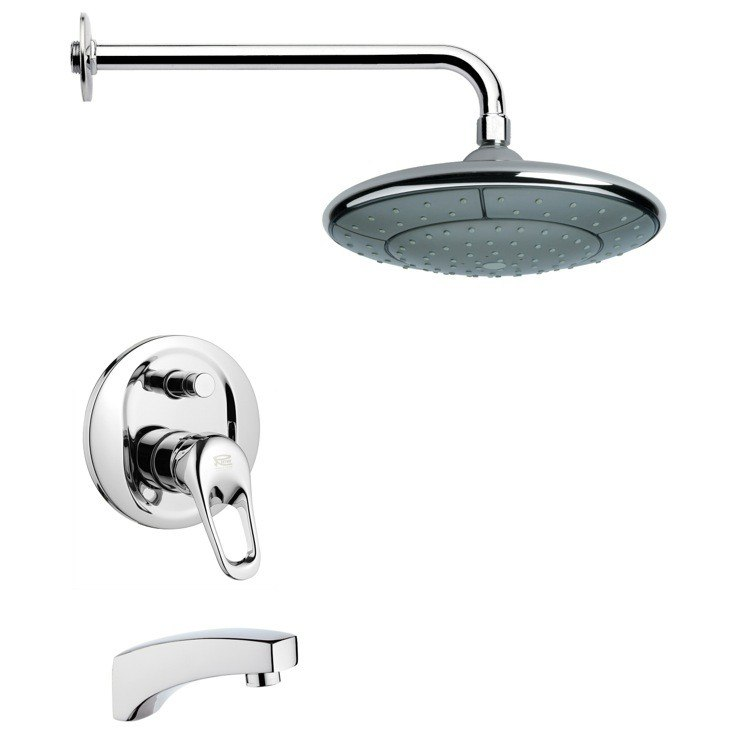REMER TSF2048 PELEO MODERN ROUND TUB AND RAIN SHOWER FAUCET SET IN CHROME