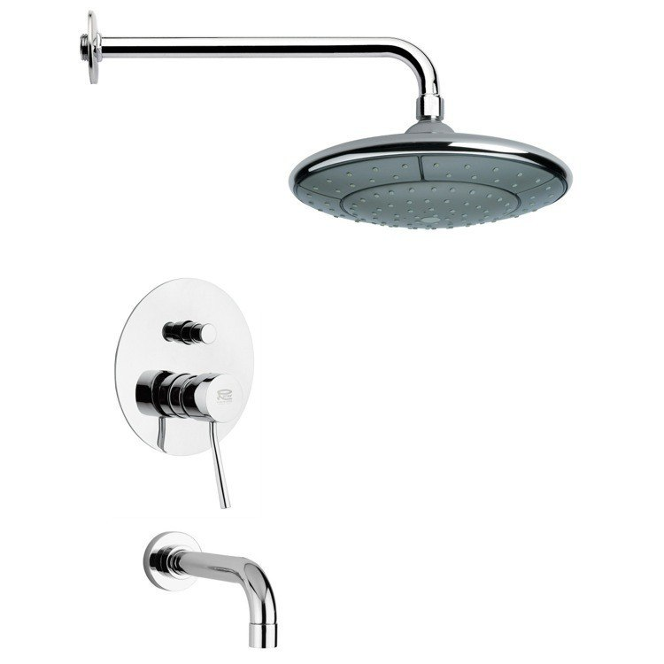 REMER TSF2049 PELEO MODERN ROUND TUB AND RAIN SHOWER FAUCET IN CHROME