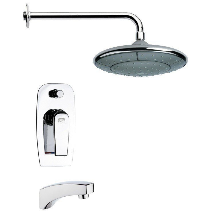 REMER TSF2052 PELEO MODERN ROUND CHROME TUB AND RAIN SHOWER FAUCET