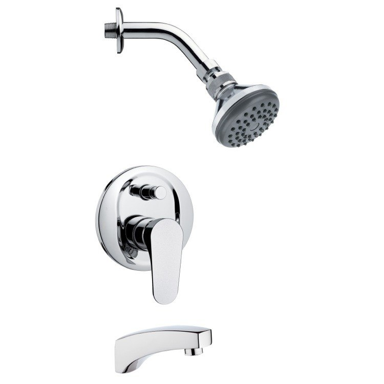REMER TSF2056 PELEO SLEEK CONTEMPORARY TUB AND SHOWER FAUCET SET IN CHROME