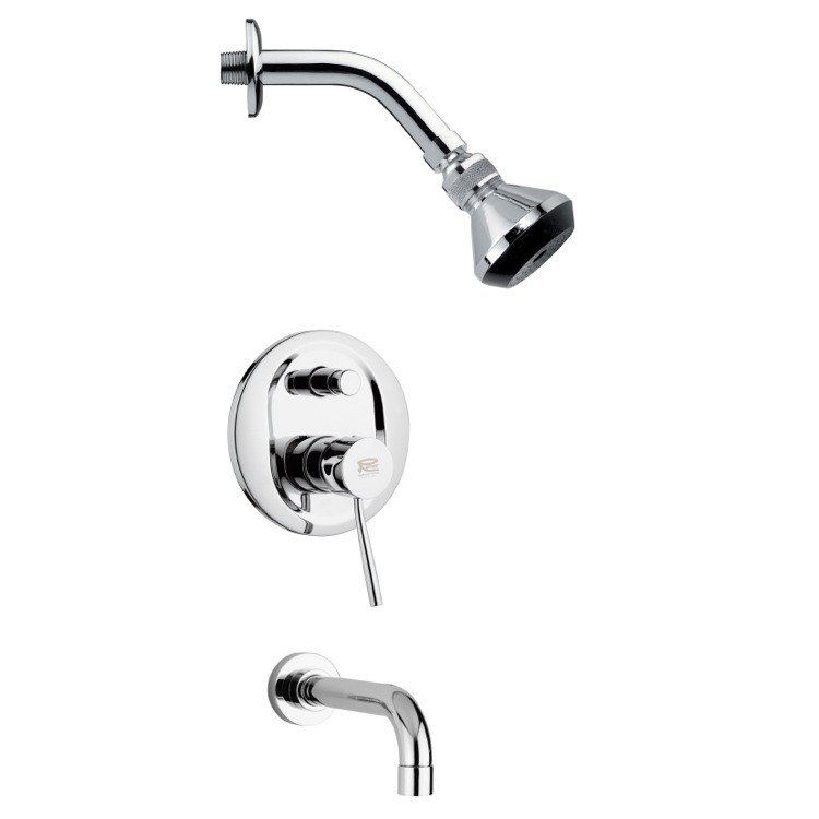 REMER TSF2062 PELEO SLEEK ROUND TUB AND SHOWER FAUCET SET IN CHROME