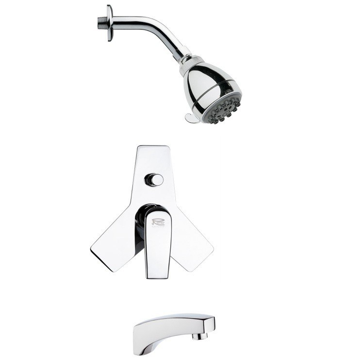 REMER TSF2069 PELEO SLEEK MODERN TUB AND SHOWER FAUCET SET IN CHROME