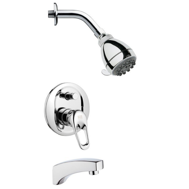 REMER TSF2073 PELEO SLEEK ROUND CHROME TUB AND SHOWER FAUCET SET