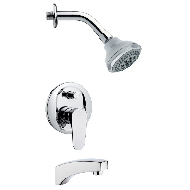 REMER TSF2077 PELEO CONTEMPORARY ROUND CHROME TUB AND SHOWER FAUCET SET