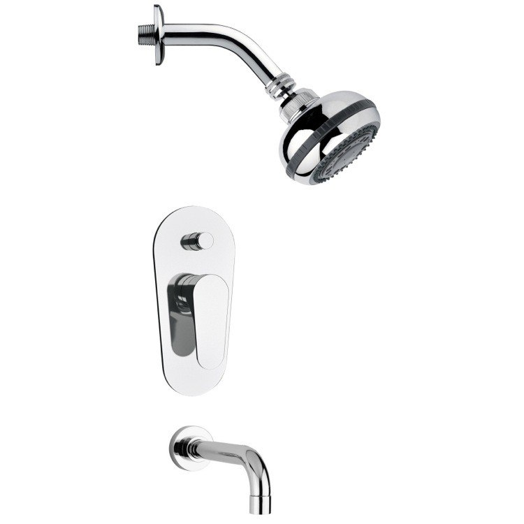 REMER TSF2081 PELEO CONTEMPORARY ROUND TUB AND SHOWER FAUCET SET IN CHROME