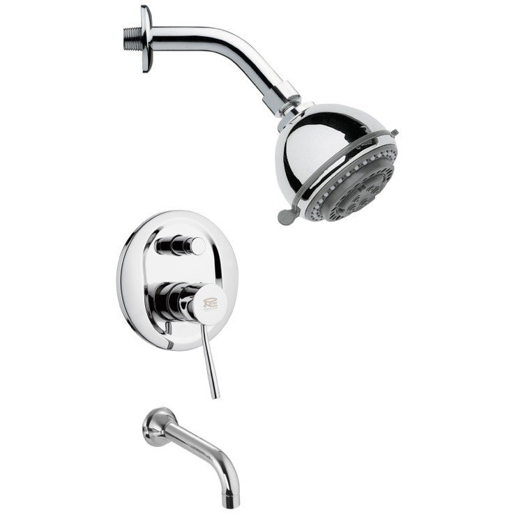 REMER TSF2087 PELEO CONTEMPORARY TUB AND SHOWER FAUCET SET IN CHROME