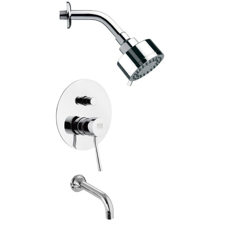 REMER TSF2098 PELEO CHROME CONTEMPORARY TUB AND SHOWER FAUCET SET