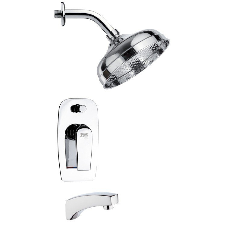 REMER TSF2102 PELEO MODERN POLISHED CHROME ROUND TUB AND RAIN SHOWER FAUCET