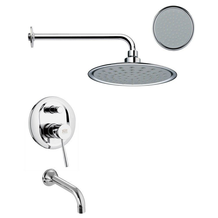 REMER TSF2155 PELEO CHROME ROUND TUB AND RAIN SHOWER FAUCET