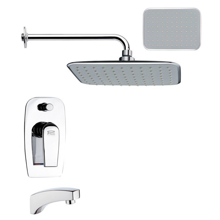 REMER TSF2158 PELEO CONTEMPORARY SQUARE POLISHED CHROME RAIN SHOWER SYSTEM