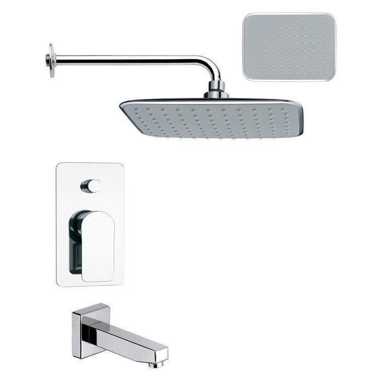 REMER TSF2159 PELEO CONTEMPORARY SQUARE POLISHED CHROME TUB AND RAIN SHOWER FAUCET SET