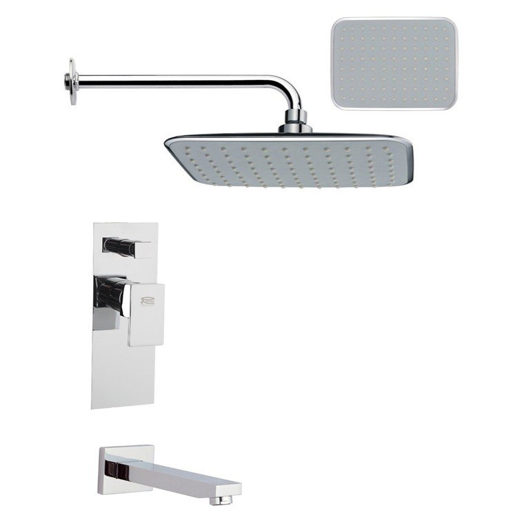 REMER TSF2160 PELEO CONTEMPORARY SQUARE POLISHED CHROME TUB AND RAIN SHOWER FAUCET