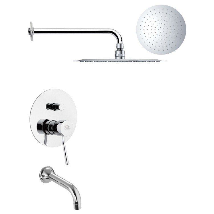 REMER TSF2169 PELEO CHROME CONTEMPORARY TUB AND RAIN SHOWER FAUCET