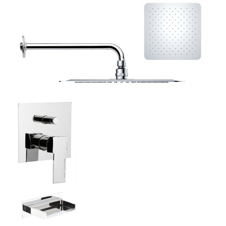 REMER TSF2180 PELEO CONTEMPORARY CHROME SQUARE TUB AND RAIN SHOWER FAUCET SET