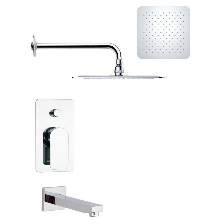 REMER TSF2187 PELEO MODERN SQUARE TUB AND RAIN SHOWER FAUCET IN CHROME