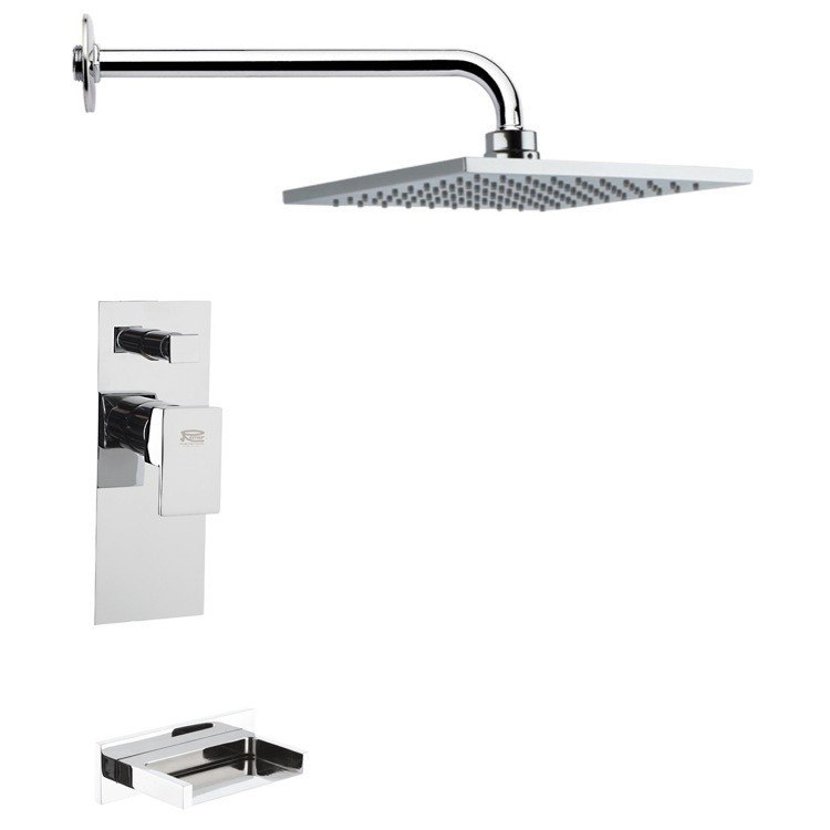REMER TSF2190 PELEO MODERN SQUARE CHROME TUB AND RAIN SHOWER FAUCET