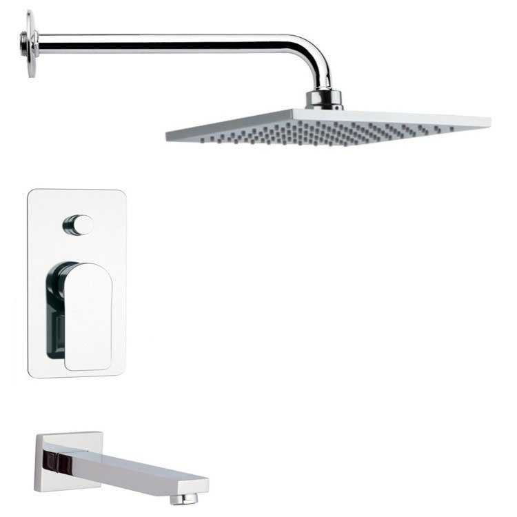 REMER TSF2192 PELEO MODERN SQUARE POLISHED CHROME TUB AND RAIN SHOWER FAUCET SET
