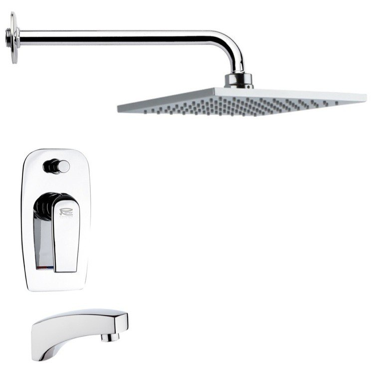 REMER TSF2193 PELEO MODERN SQUARE POLISHED CHROME TUB AND RAIN SHOWER FAUCET