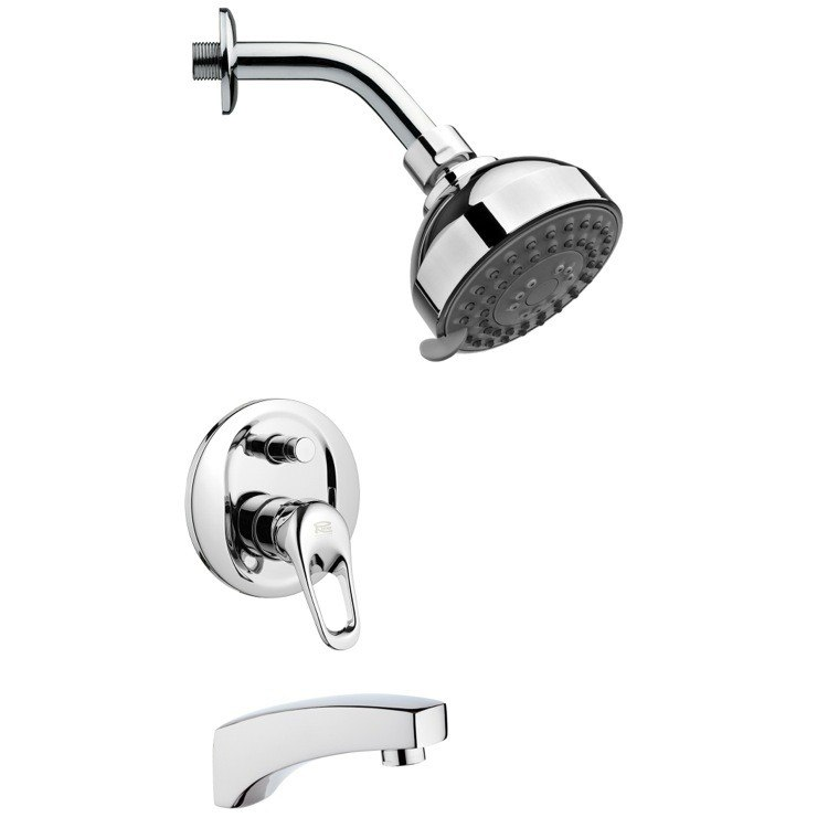 REMER TSF2206 PELEO ROUND MODERN CHROME TUB AND SHOWER FAUCET SET