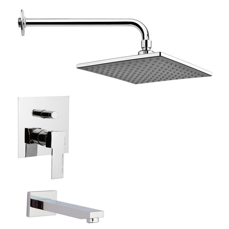 REMER TSF2223 PELEO MODERN CHROME SQUARE TUB AND RAIN SHOWER FAUCET