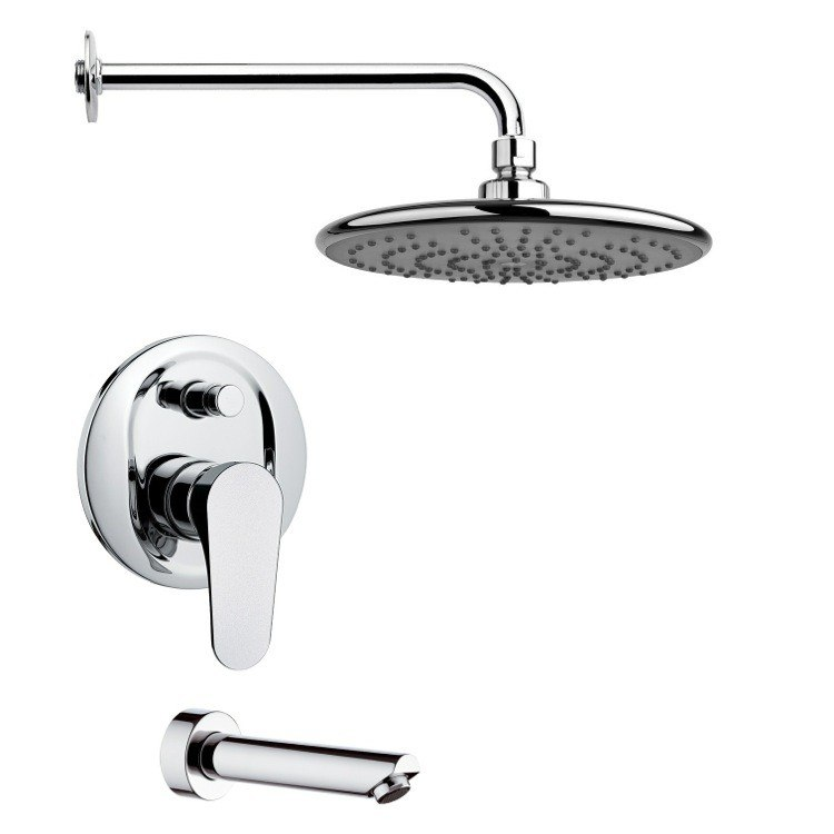 REMER TSF2231 PELEO SLEEK TUB AND RAIN SHOWER FAUCET SET IN CHROME