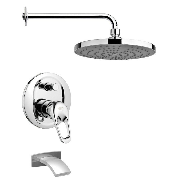 REMER TSF2239 PELEO SLEEK MODERN CHROME TUB AND RAIN SHOWER FAUCET SET