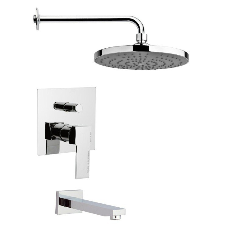 REMER TSF2241 PELEO SLEEK CONTEMPORARY TUB AND RAIN SHOWER FAUCET SET IN CHROME