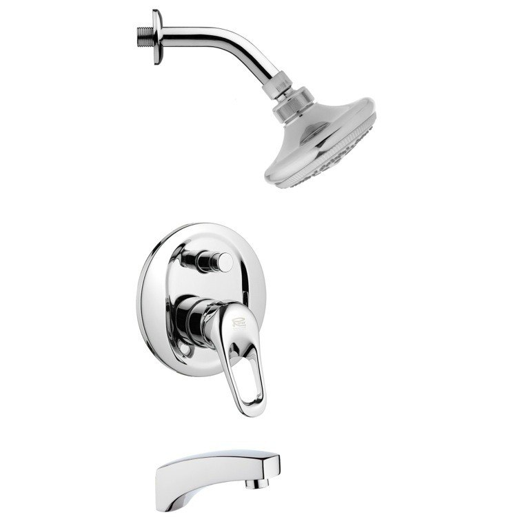 REMER TSF2243 PELEO ROUND SLEEK TUB AND SHOWER FAUCET SET IN CHROME
