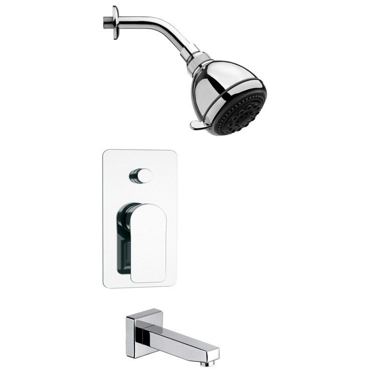 REMER TSF2249 PELEO ROUND SLEEK CHROME TUB AND SHOWER FAUCET SET