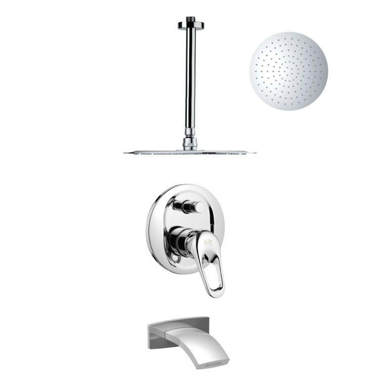 REMER TSF2263 PELEO SLEEK CONTEMPORARY TUB AND RAIN SHOWER FAUCET IN CHROME