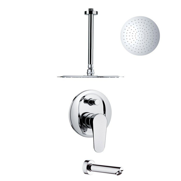 REMER TSF2266 PELEO SLEEK POLISHED CHROME TUB AND RAIN SHOWER FAUCET